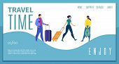 Enjoy Travel Time, Travel Company, Touristic Agency Online Service Flat Vector Web Banner, Landing P poster
