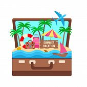Open Suitcase With A Tropical Island And Palm Trees, A Bright Umbrella And A Suitcase On The Sand poster