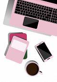 Desktop Top View. Flat Illustration For Business, Freelancer, Training. Desktop With Laptop, Notepad poster