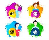 Special Offer Symbol. People Shape Offer Badge. Sale Sign. Advertising Discounts Symbol. Dynamic Sha poster