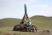 Roadside Ovoo Shaman Shrine, Gobi Desert, Mongolia