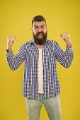 Cheerful Mood. Beard Fashion And Barber Concept. Man Bearded Hipster Stylish Beard Yellow Background poster