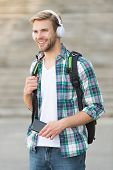 College Education Concept. College Life. College Student Headphones Smartphone. Online Course. Audio poster