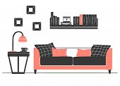 Interior In Scandinavian Style. Part Of The Livingroom. Hand Drawn Vector Illustration Of A Sketch S poster