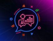 Seo Statistics Line Icon. Neon Laser Lights. Search Engine Optimization Sign. Analytics Chart Symbol poster