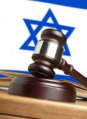 Gavel  and Flag of Israel