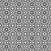Arabic Pattern. Seamless Pattern In Black And White Color. Vector Illustration poster