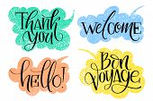 Set Of Common Hand Written Words On Drawn Textured Speech Bubbles. Thank You, Welcome, Hello And Bon poster