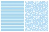Lovely Hearts And Stripes Vector Pattern Set. White Horizontal Stripes On A Blue Background. Light B poster