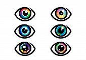 Eye Icon - Eye Symbol. Flat Eye Sign Vector. Colorful Eye Icons poster