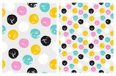 Cute Hand Drawn Abstract Brush Irregular Dots Vector Pattern Set. Colorful Brush Dots Isolated On A  poster