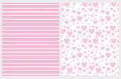 Lovely Hearts And Stripes Vector Pattern Set. White Horizontal Stripes On A Pink Background. Light P poster