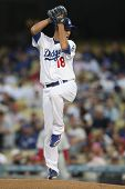 LOS ANGELES - AUG 30: Dodgers pitcher (#18) Hiroki Kuroda during the Phillies vs. Dodgers game on Au