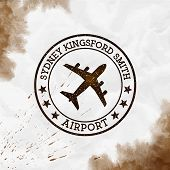 Sydney Kingsford Smith Airport Logo. Airport Stamp Watercolor Vector Illustration. Sydney Aerodrome. poster