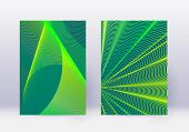 Cover Design Template Set. Abstract Lines Modern Brochure Layout. Green Vibrant Halftone Gradients O poster