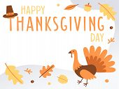 Hand Drawn Happy Thanksgiving Day Banner With Copy Space. Holiday Greeting Card With Turkey. Fall Co poster