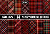 Set Red Tartan Seamless Pattern poster