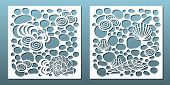 Laser Cut Panels Set. Template For Metal Cutting Or Wood Carving ,stencil For Fretwork, Paper Art, C poster