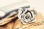 Floral Wine. Metal Flower In Steel Silver Bottle. Forging And Sculpture. Silver Metal. Romantic Date poster