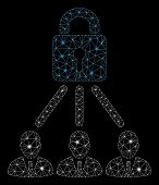 Glossy Mesh Lock Managers With Sparkle Effect. Abstract Illuminated Model Of Lock Managers Icon. Shi poster
