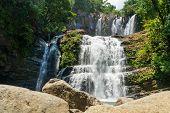 Nauyaca Waterfalls In Costa Rica, A Majestic Cascading Fall In Dominical Province, Costa Rica poster