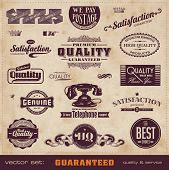 collection of retro premium quality and service guarantee labels