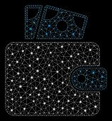 Flare Mesh Wallet With Glare Effect. Abstract Illuminated Model Of Wallet Icon. Shiny Wire Carcass T poster