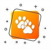 White Paw Print Icon Isolated On White Background. Dog Or Cat Paw Print. Animal Track. Orange Square poster