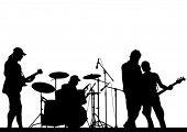 Imagem vetorial de grupo musical e público