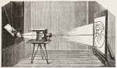 Antique photographic device created by L. Wulff (sunbeam camera). Illustrated by Lepace, published on L'Illustration, Journal Universel, Paris, 1863