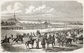 Nancy racecourse old illustration, France. Created by Janet-Lange,  published on L'Illustration, Journal Universel, Paris, 1863