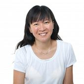 Happy 40s Asian woman on white background