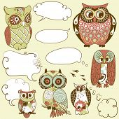 Collection of six different owls with speech bubbles