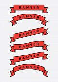Set Of Red Ribbon Banner Icon,glyph Ribbon Banner,ribbon Vector Banner, On White Background,fill And poster