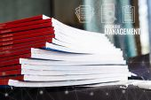 Stack Of Paperwork Files Document Management Concept: Applicant Filing File Of Pile Documents Report poster