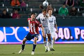 CARSON, CA. - JUNE 1: Chivas USA player F Justin Braun #17 (L) & Vancouver Whitecaps FC player M Ale