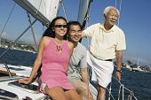 stock photo of early 60s  - Family on Sailboat - JPG