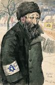 Old Jew wearing Star of David  - nazi occupation, Poland - watercolor painting by my grandfather, Ro