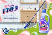 Bottle Clean Power. Mop Washes Bathroom Floor. Detergent For Home. Cleaning Service. Vector Illustra poster
