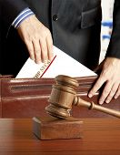 Lawyer in courtroom