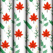 Seamless Pattern Of Floral And Leaf Vector Design Concepts, Autumn Red And Green Leaves. White Backg poster