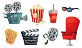 Cartoon Cinema Elements. Movie Theater Popcorn, Filming Cinema Clapperboard And Retro Film Camera. C poster