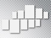 Blank White 3d Paper Canvas Or Photo Frames Isolated On Transparent Background. Collage Concept. Col poster