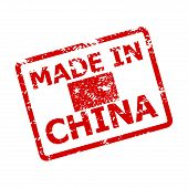 Made In China Rubber Seal Stamp. Fabricated Rubber Seal, Made In China Stamp Grunge, Chinese Produce poster