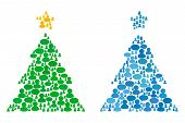 Christmas Tree Mosaics Of Chat Clouds And Men Symbols. Vector Mosaic In Blue Color Variations. Custo poster