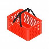 Isometric Red Shopping Basket With Black Handles. Isometric Shopping Basket Isolated On White, Vecto poster