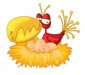 stock photo of dinosaur-eggs  - Illustration of exotic bird in nest - JPG