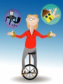 stock photo of unicycle  - Smiling female sitting on unicycle attempting to juggle work and family - JPG