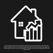 Black Rising Cost Of Housing Icon Isolated On Black Background. Rising Price Of Real Estate. Residen poster