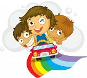 Ilustração de crianças dirigindo um carro